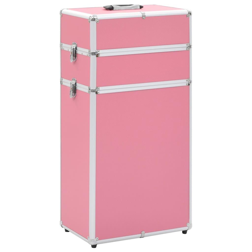 vidaXL Make-up kufrík ružový hliníkový
