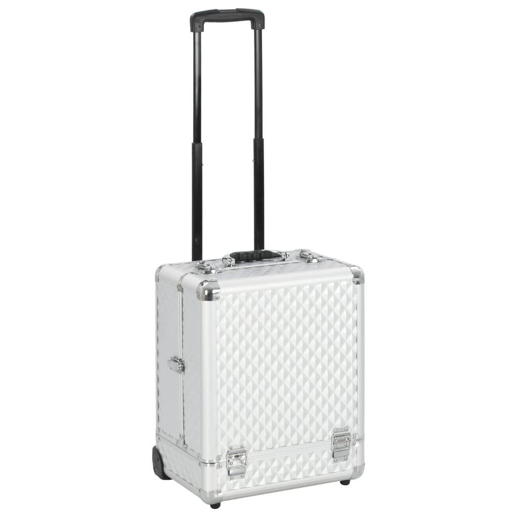 vidaXL Make-up kufrík 35x29x45 cm strieborný hliníkový