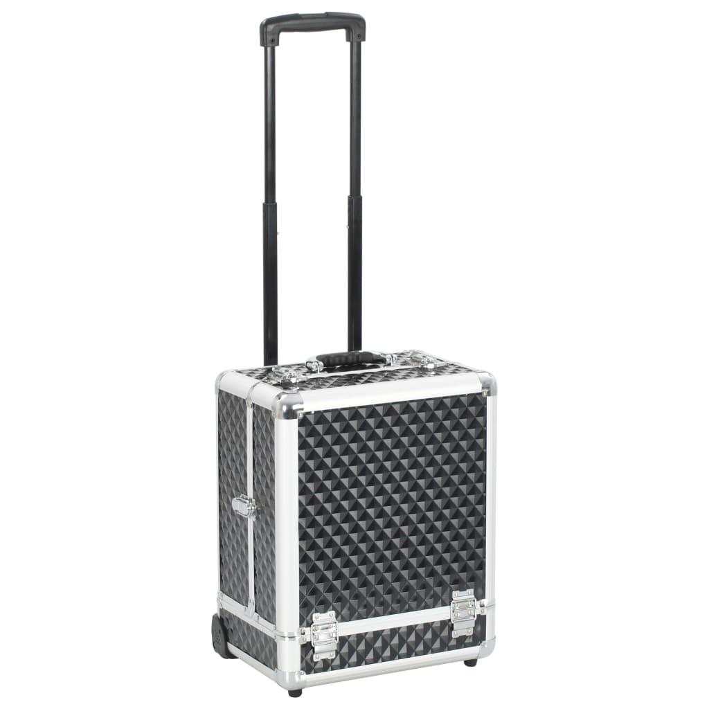 vidaXL Make-up kufrík 35x29x45 cm čierny hliníkový