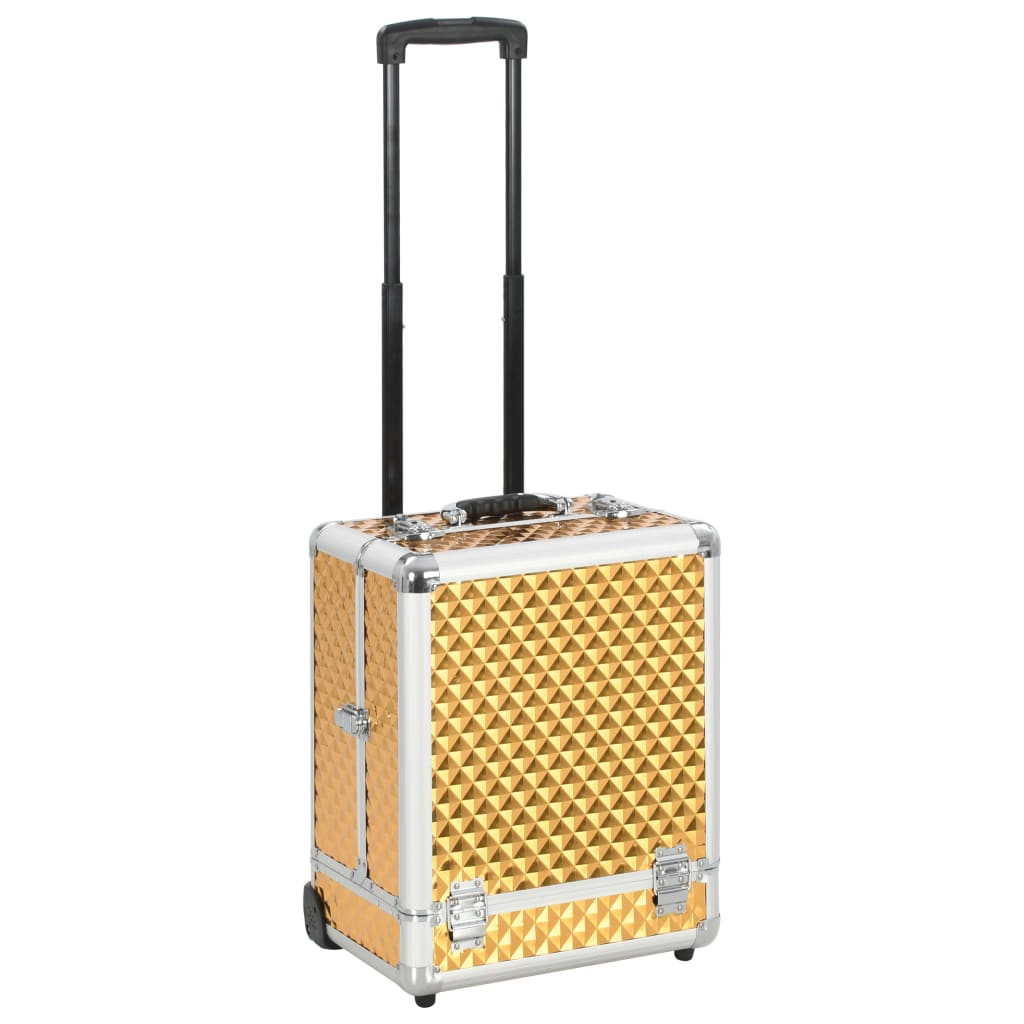 vidaXL Make-up kufrík 35x29x45 cm zlatý hliníkový