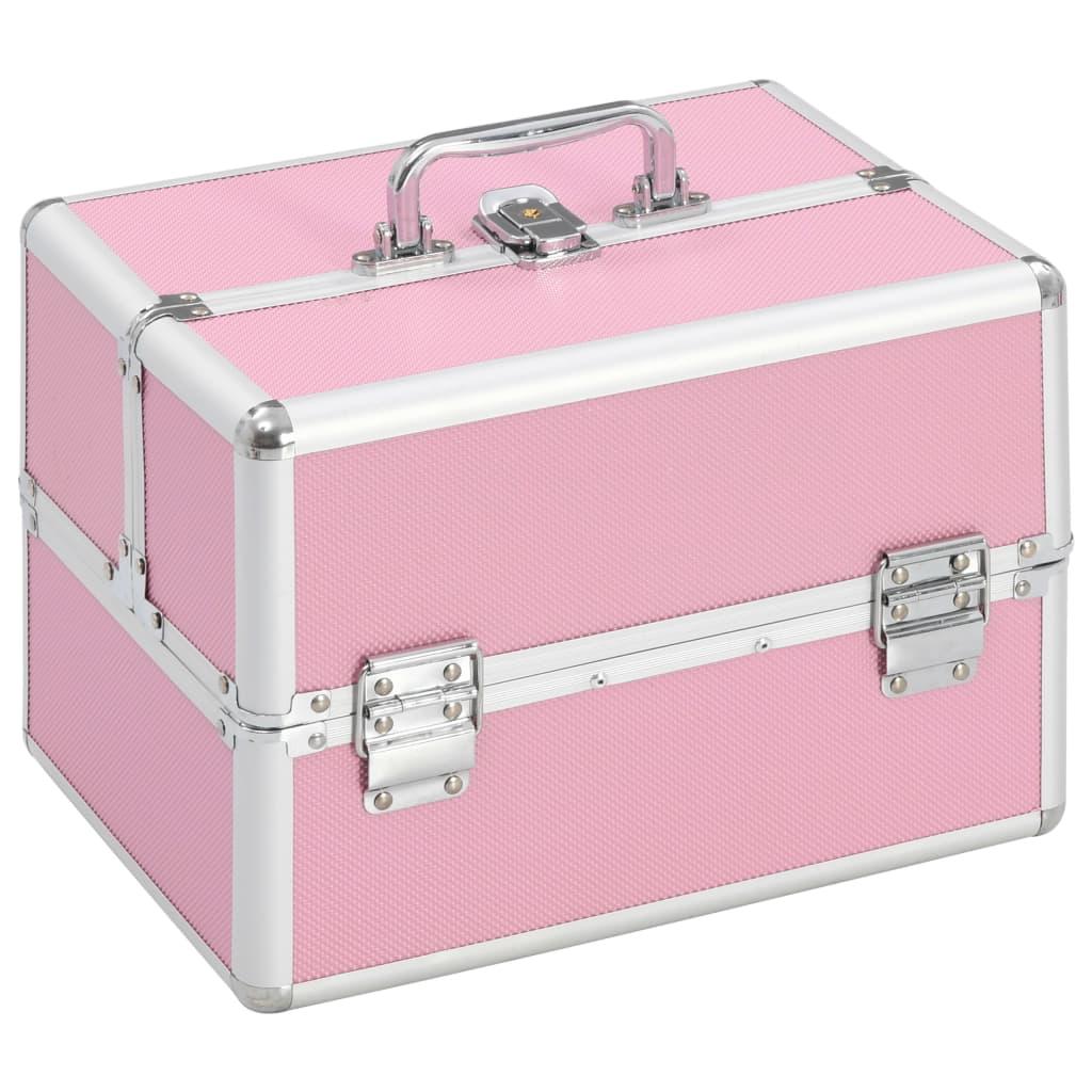 vidaXL Kufrík na make-up ružový 22x30x21 cm hliníkový