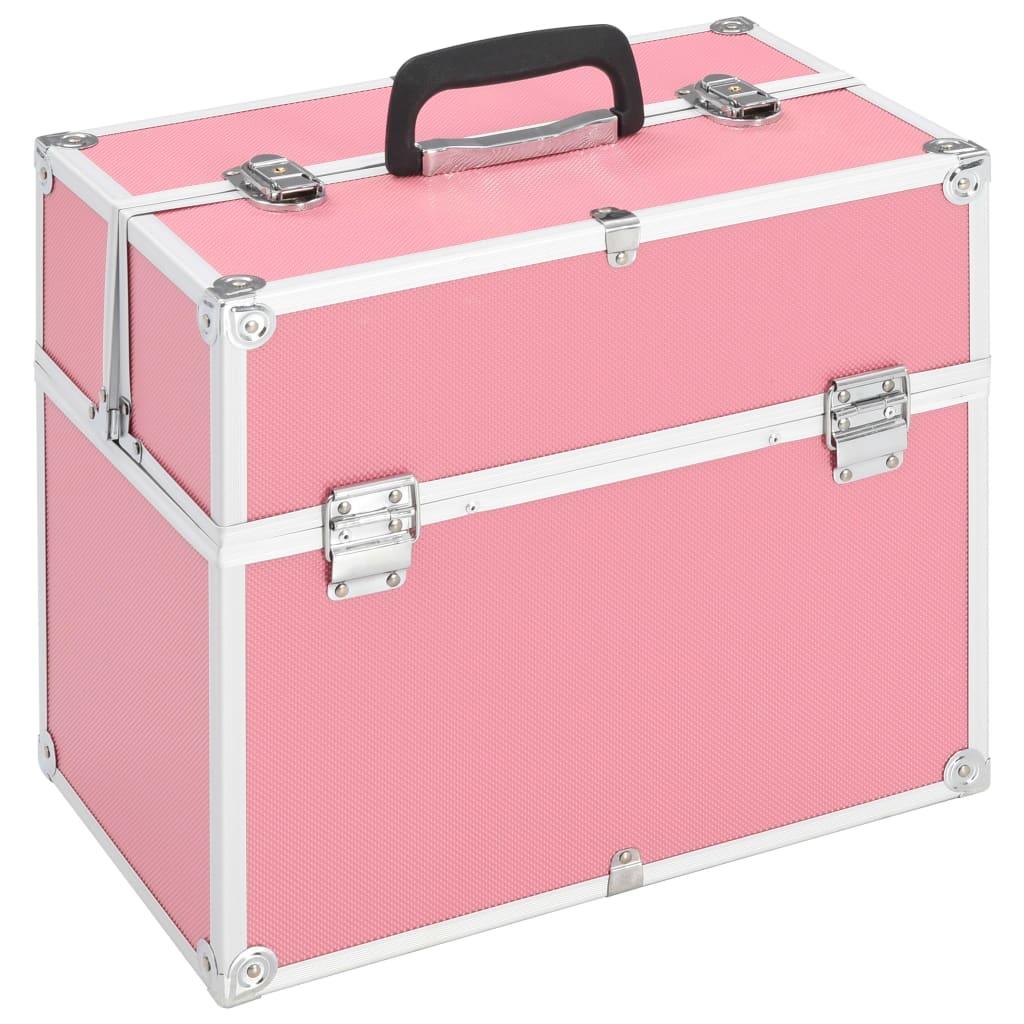 vidaXL Kufrík na make-up ružový 37x24x35 cm hliníkový