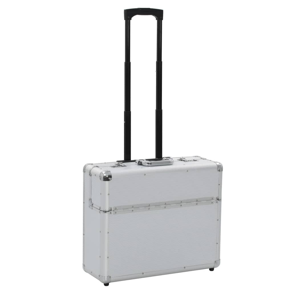 vidaXL Pilotný kufor 54x44x21 cm strieborný hliníkový