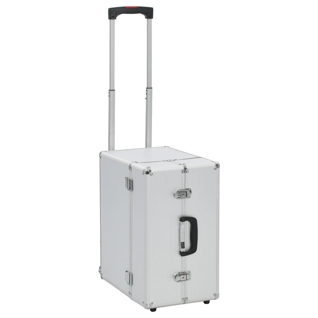 vidaXL Pilotný kufor 47x39x27 cm strieborný hliníkový