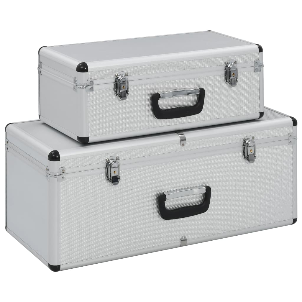 vidaXL Úložné kufríky 2 ks strieborné hliníkové