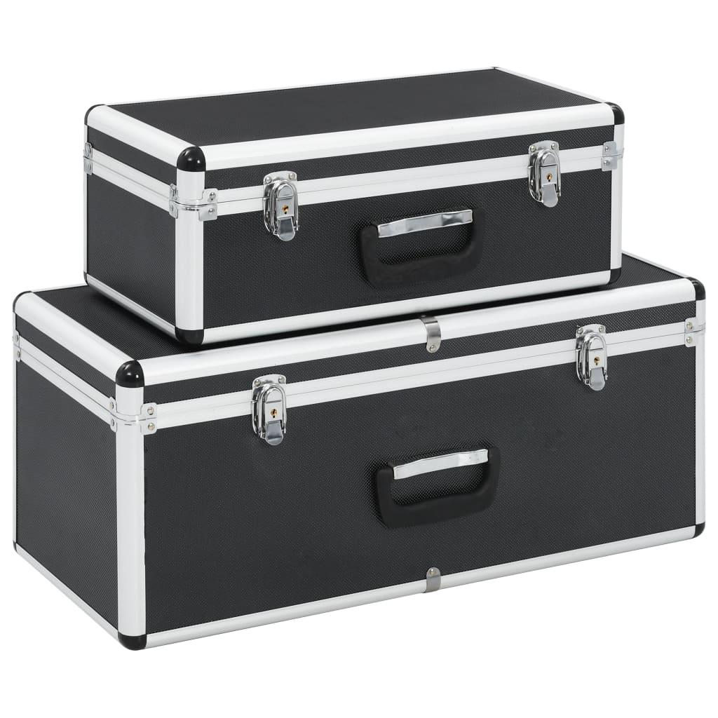 vidaXL Úložné kufríky 2 ks čierne hliníkové