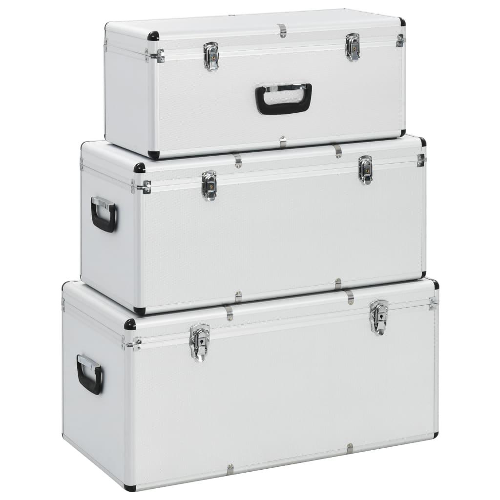 vidaXL Úložné kufríky 3 ks strieborné hliníkové