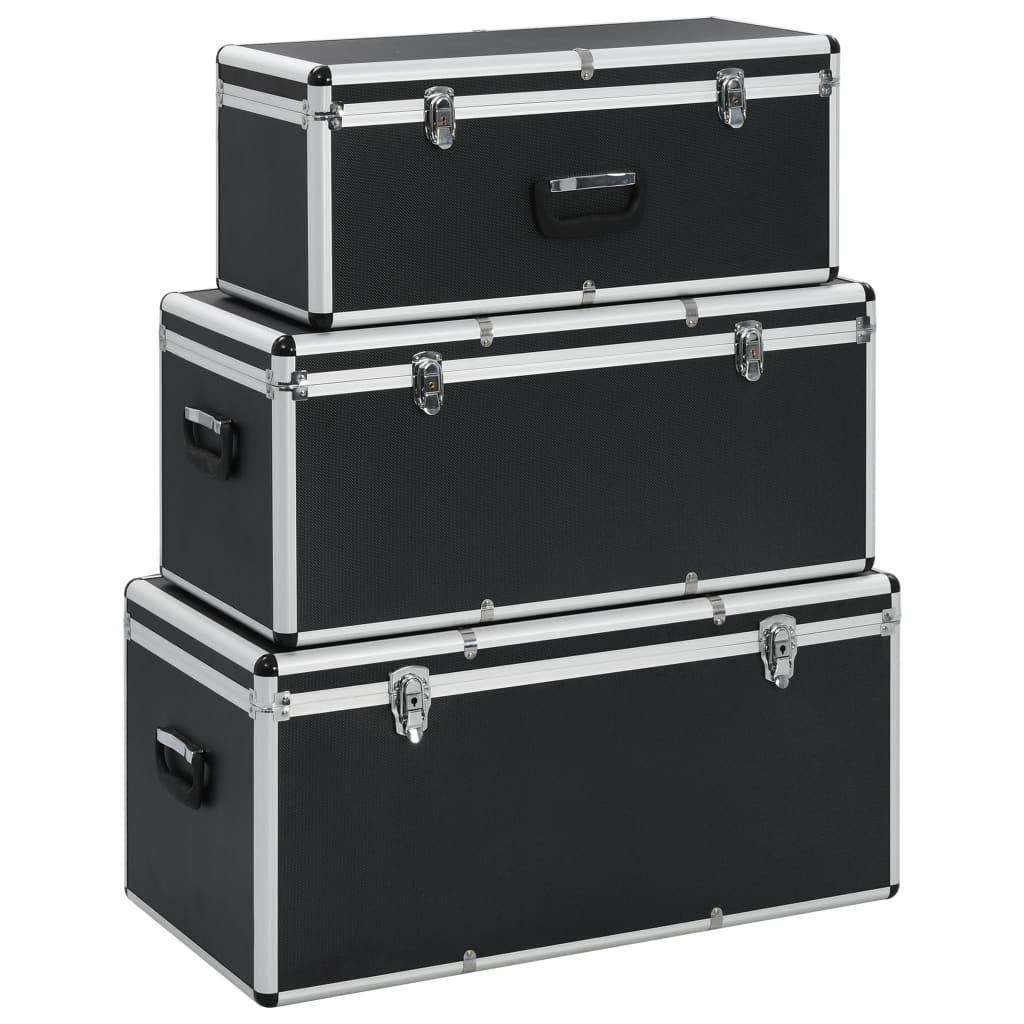 vidaXL Úložné kufríky 3 ks čierne hliníkové