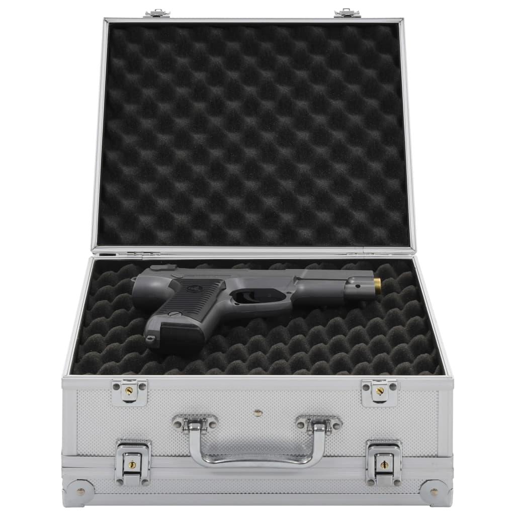 vidaXL Kufrík na zbraň hliníkový ABS strieborný