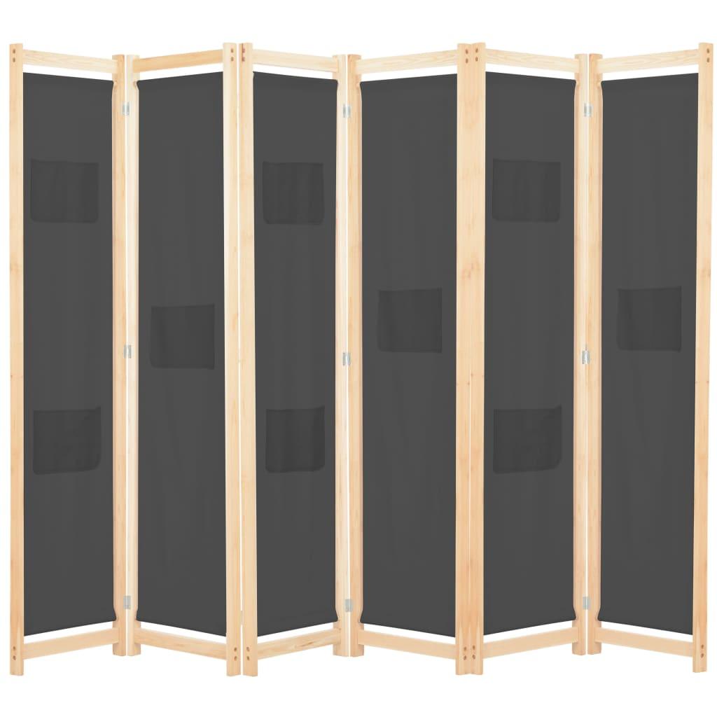 vidaXL 6-panelový paraván sivý 240x170x4 cm látkový
