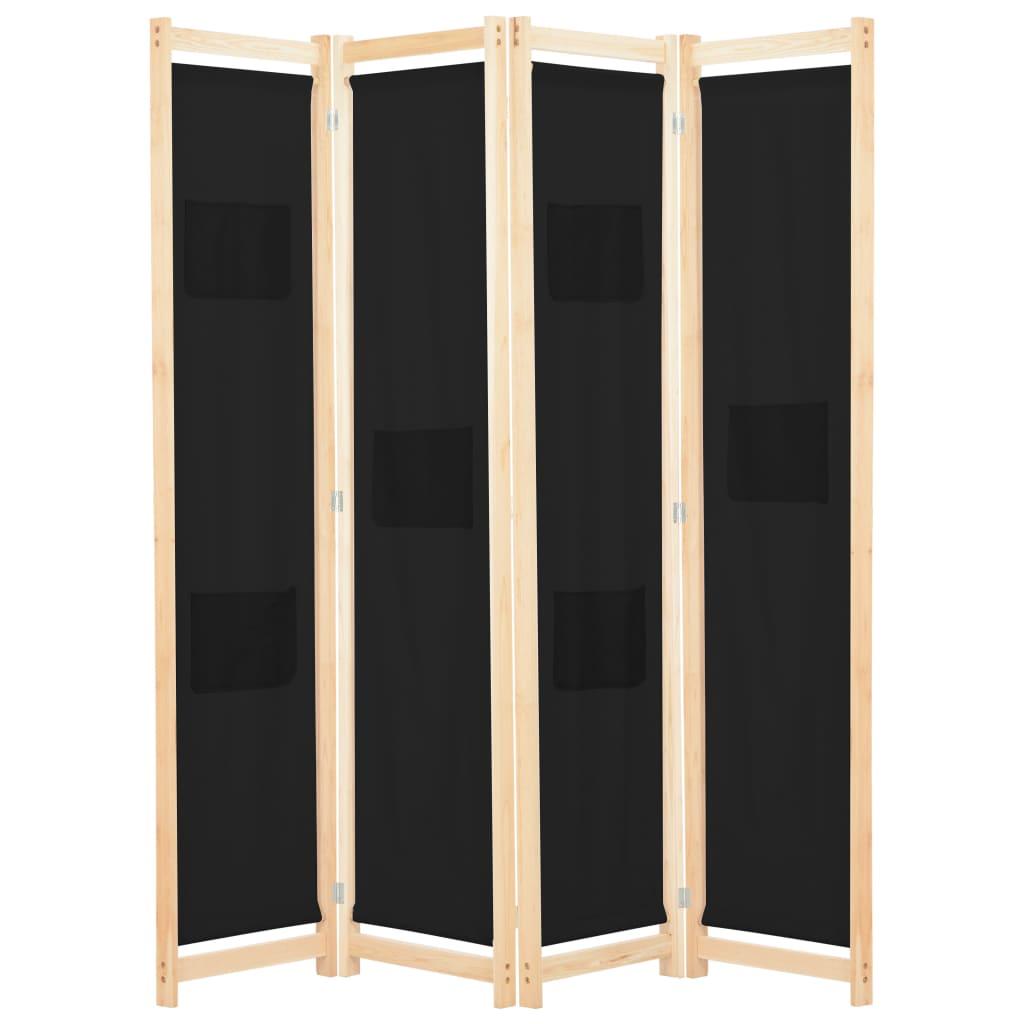 vidaXL 4-panelový paraván čierny 160x170x4 cm látkový