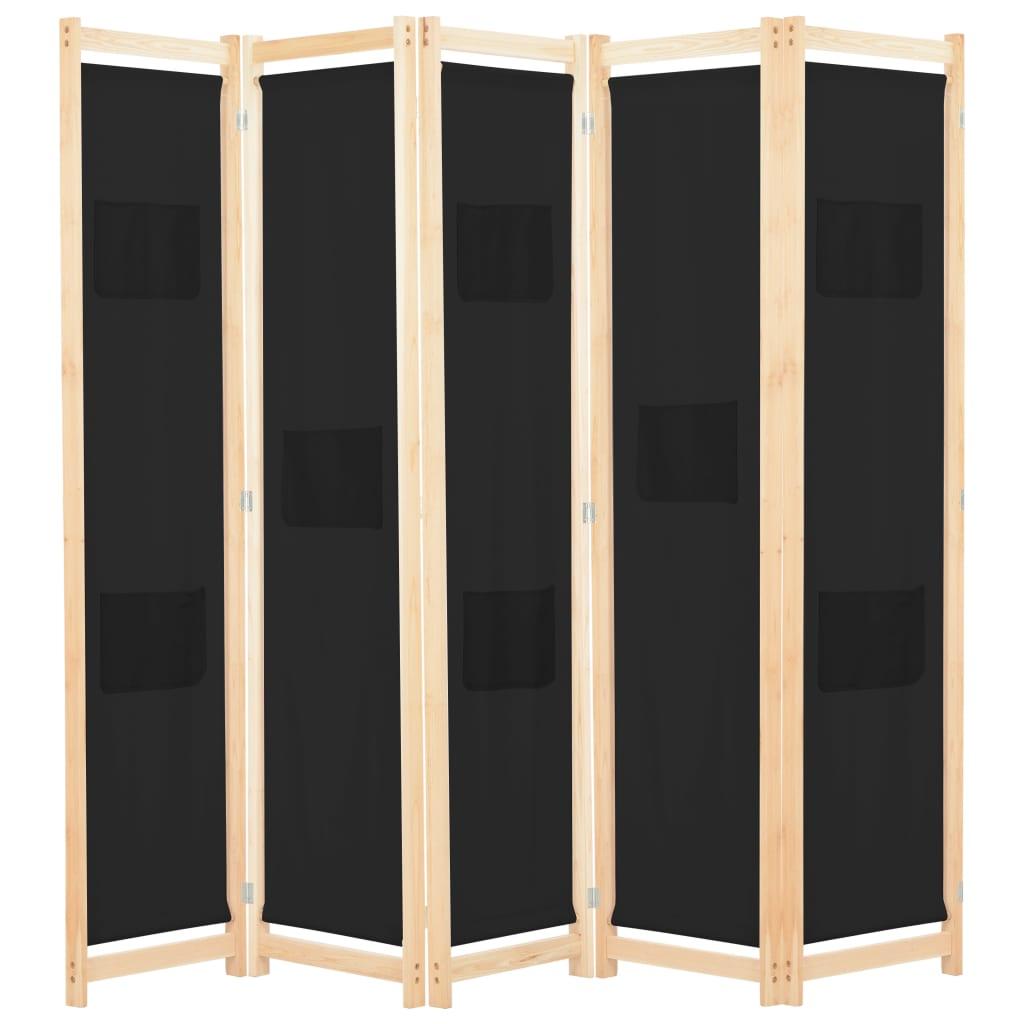 vidaXL 5-panelový paraván čierny 200x170x4 cm látkový
