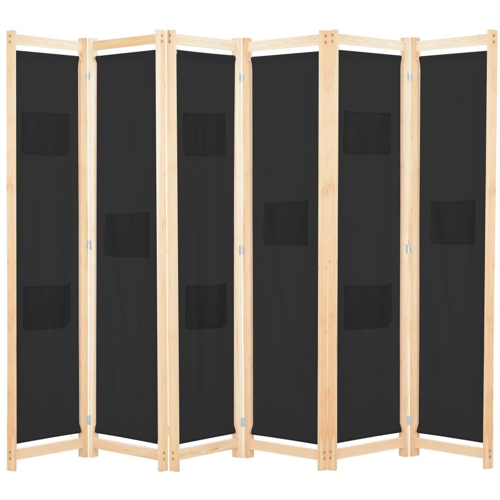 vidaXL 6-panelový paraván čierny 240x170x4 cm látkový