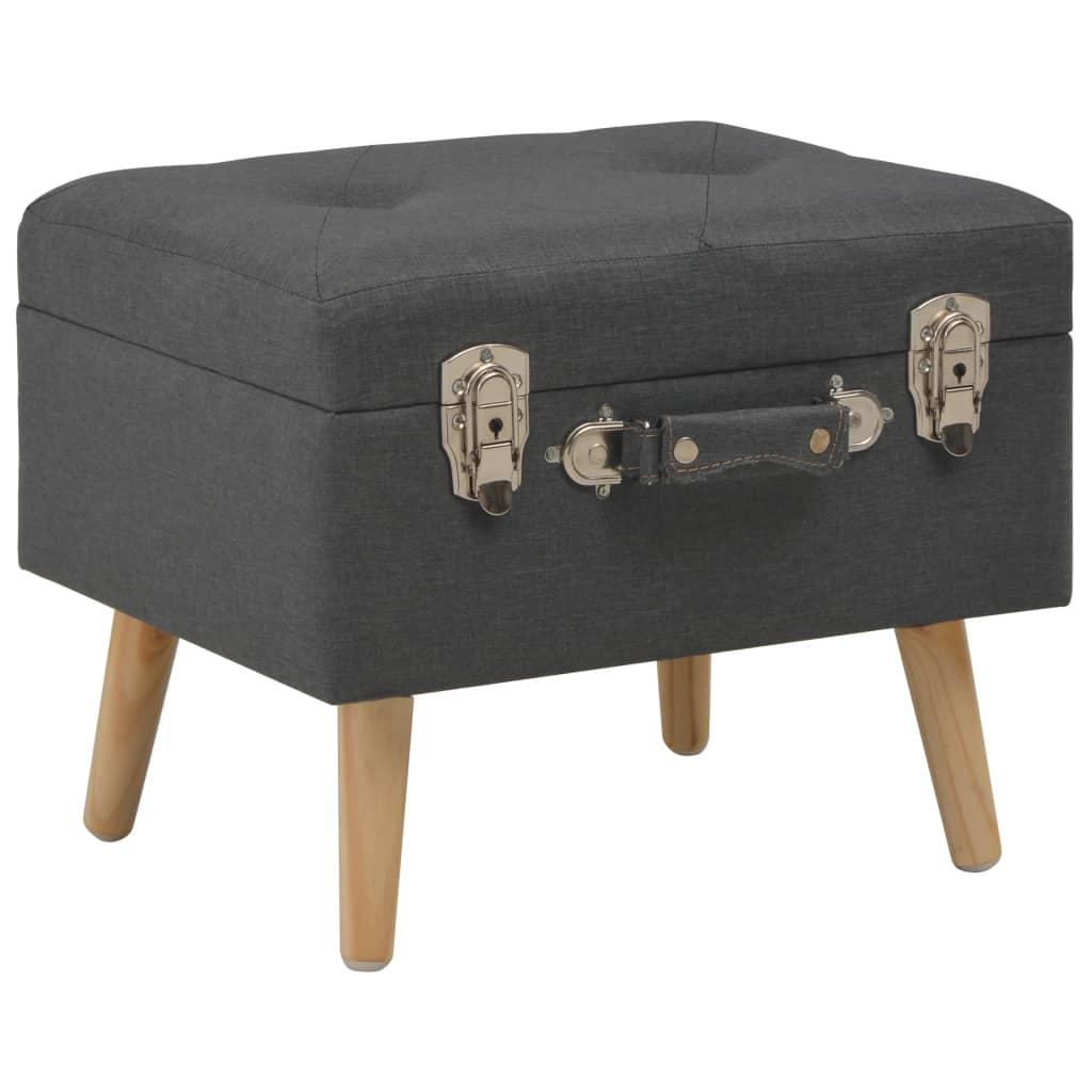 vidaXL Úložná stolička 40 cm tmavosivá látková
