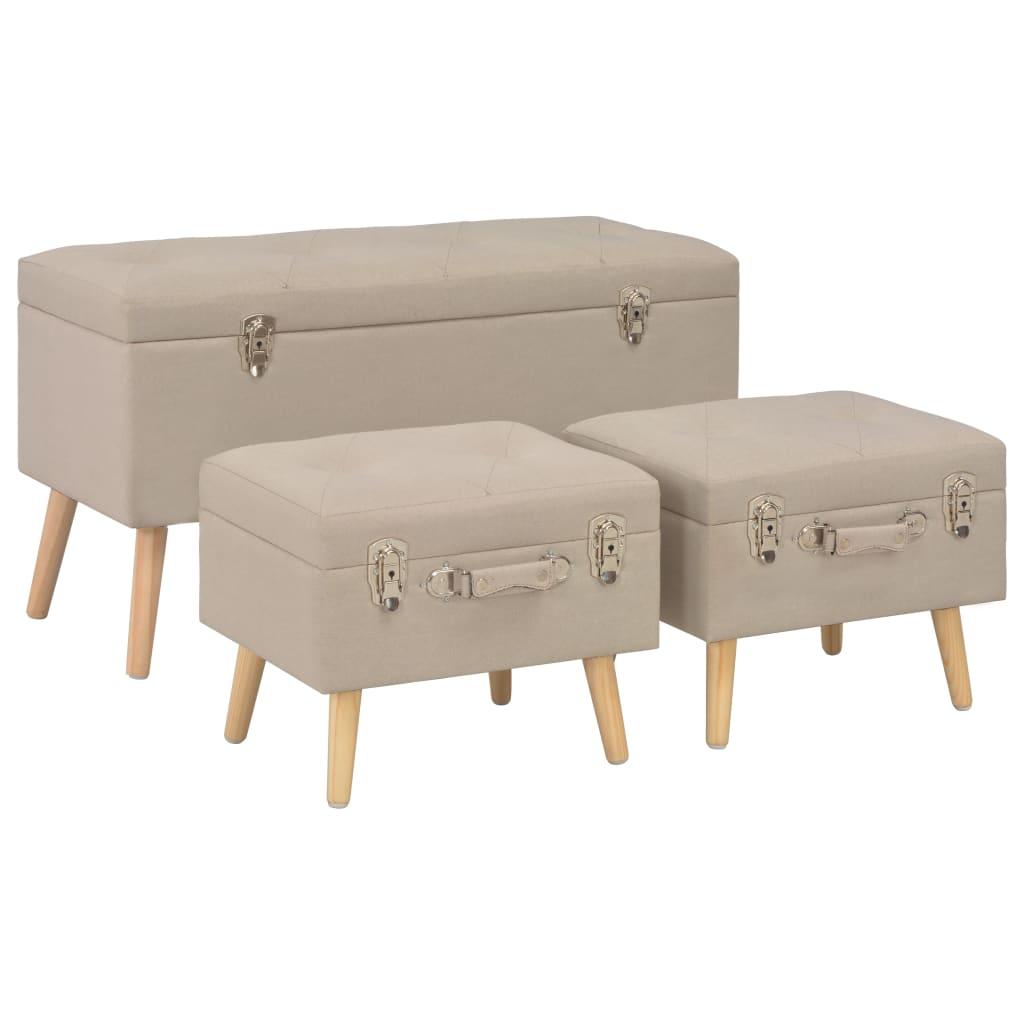 vidaXL Úložné stoličky 3 ks béžové látkové