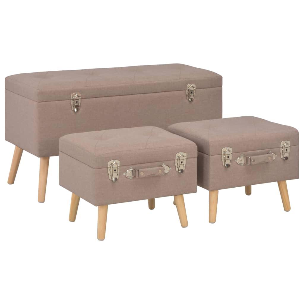 vidaXL Úložné stoličky 3 ks hnedé látkové