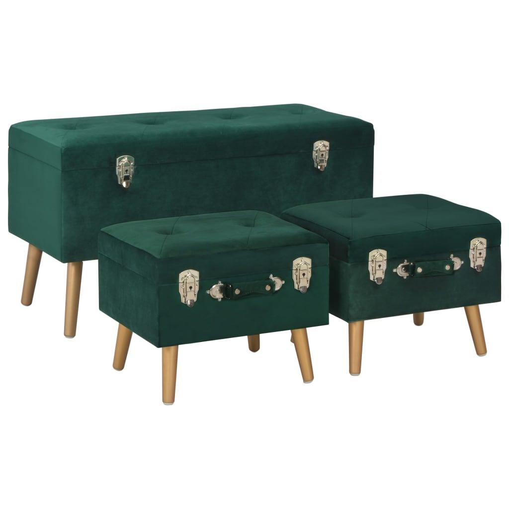 vidaXL Úložné stoličky 3 ks zelené zamatové