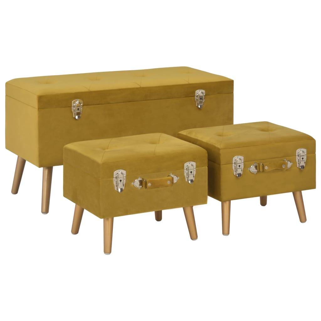 vidaXL Úložné stoličky 3 ks horčicové zamatové