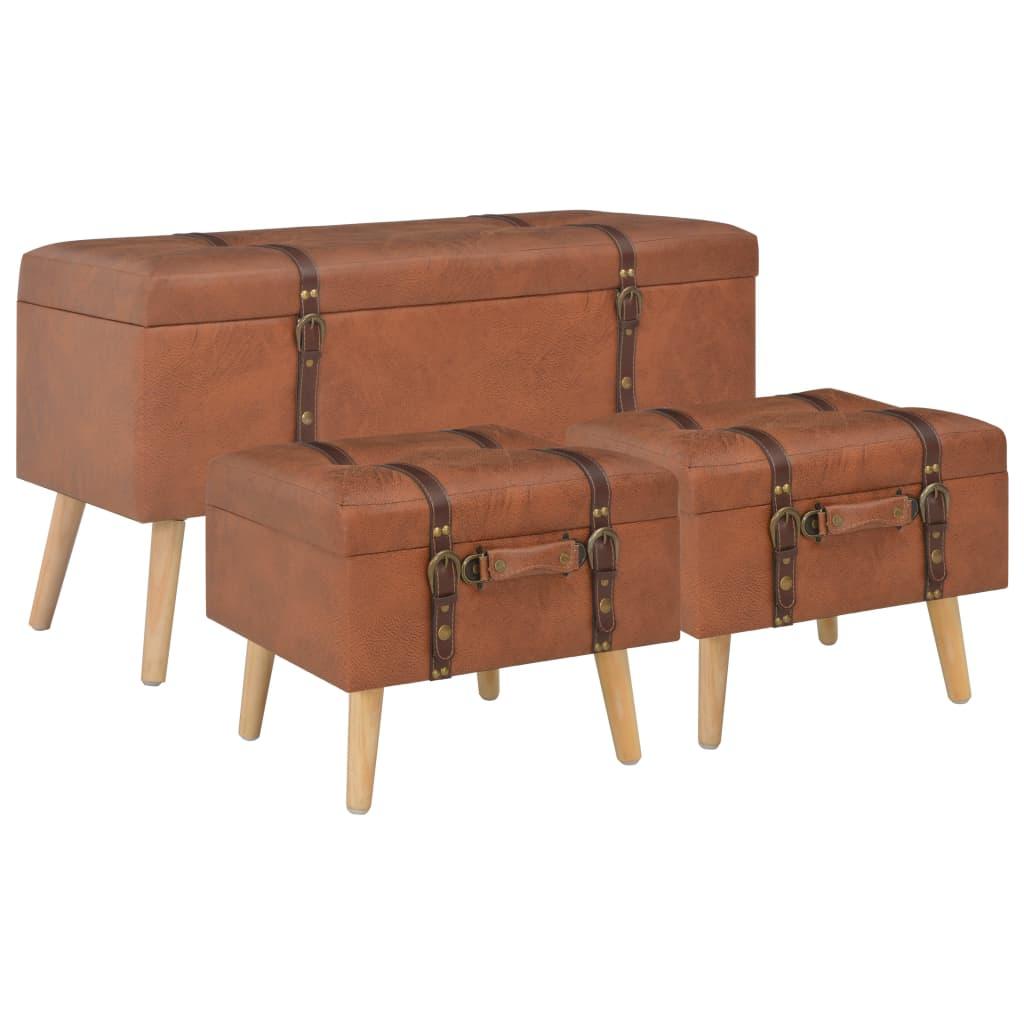 vidaXL Úložné stoličky 3 ks žltohnedé umelá koža