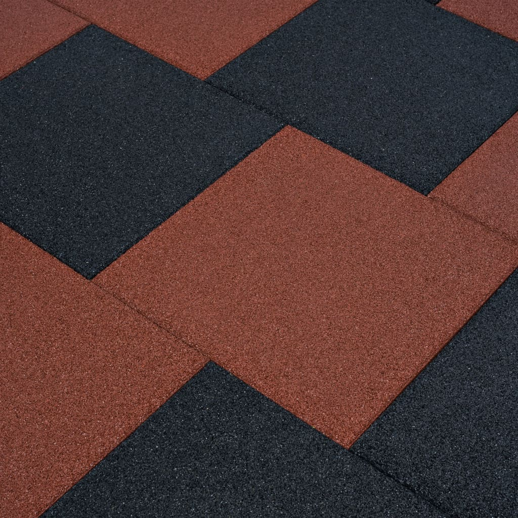 vidaXL Protipádové dlaždice 6 ks červené 50x50x3 cm gumené