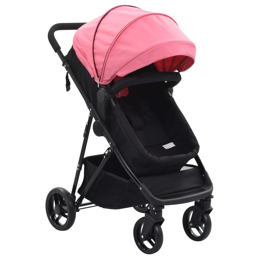 vidaXL Detský kočík/bugina 2-v-1, ružovo čierny, oceľ