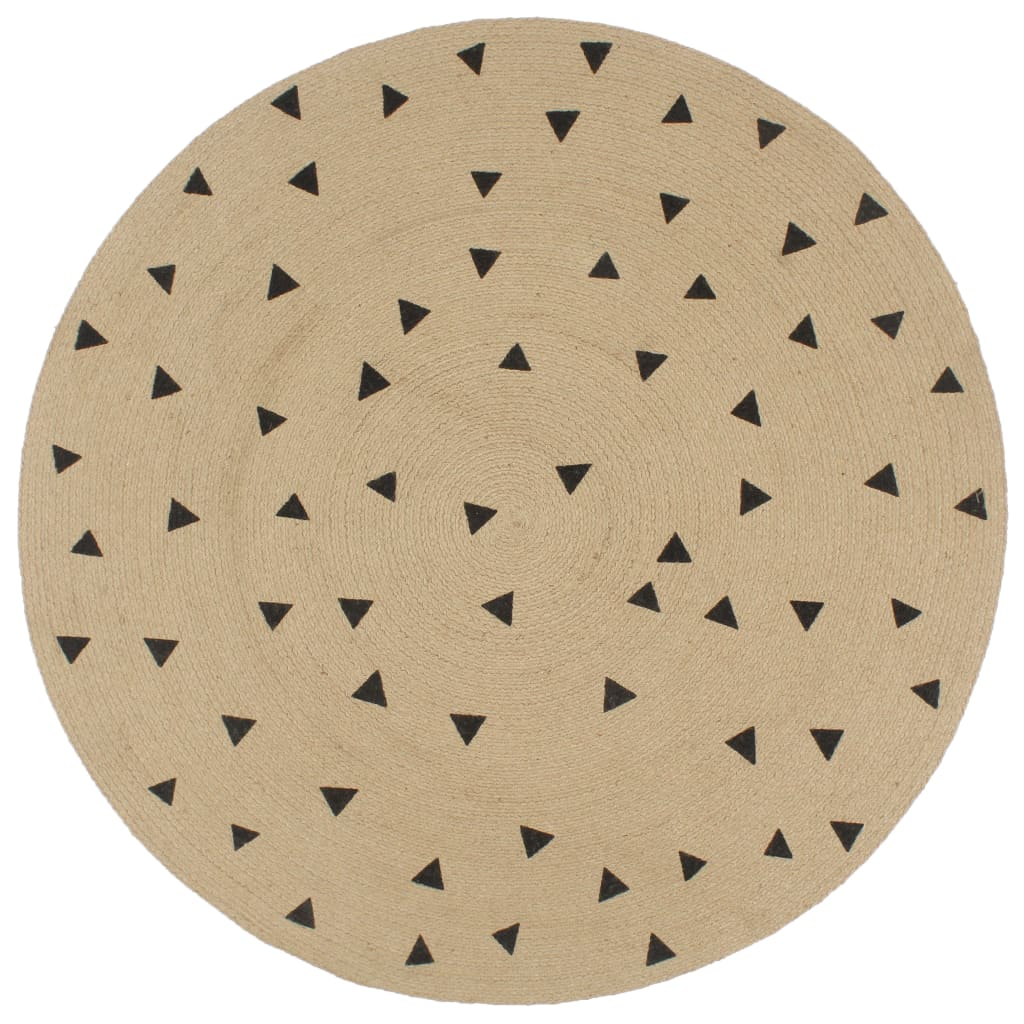 vidaXL Ručne vyrobený jutový koberec s potlačou trojuholníkov 120 cm