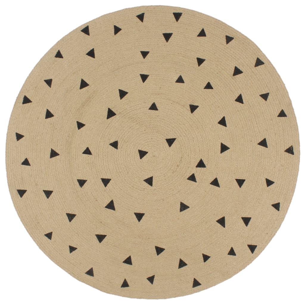 vidaXL Ručne vyrobený jutový koberec s potlačou trojuholníkov 150 cm