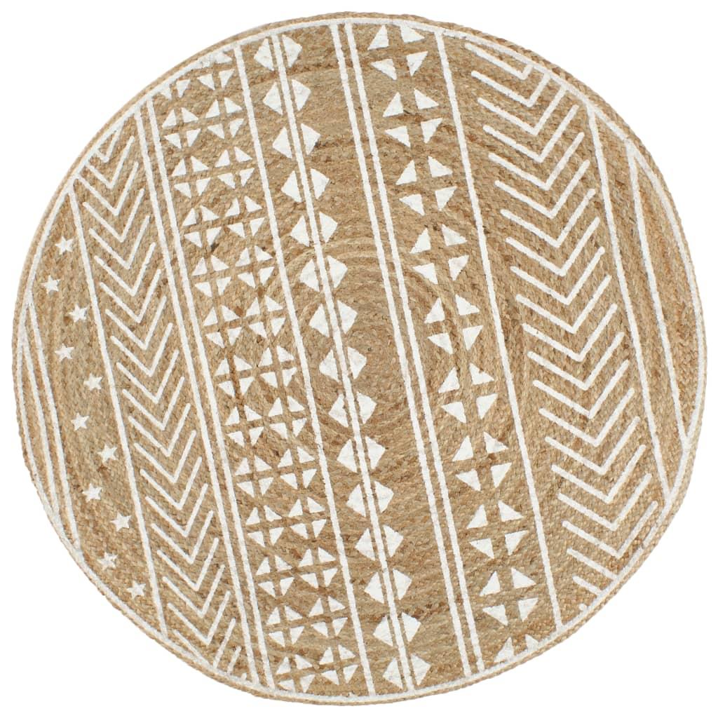 vidaXL Ručne vyrobený jutový koberec s bielou potlačou 90 cm