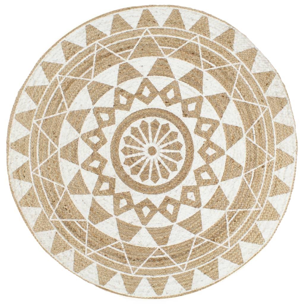 vidaXL Ručne vyrobený jutový koberec s bielou potlačou 150 cm