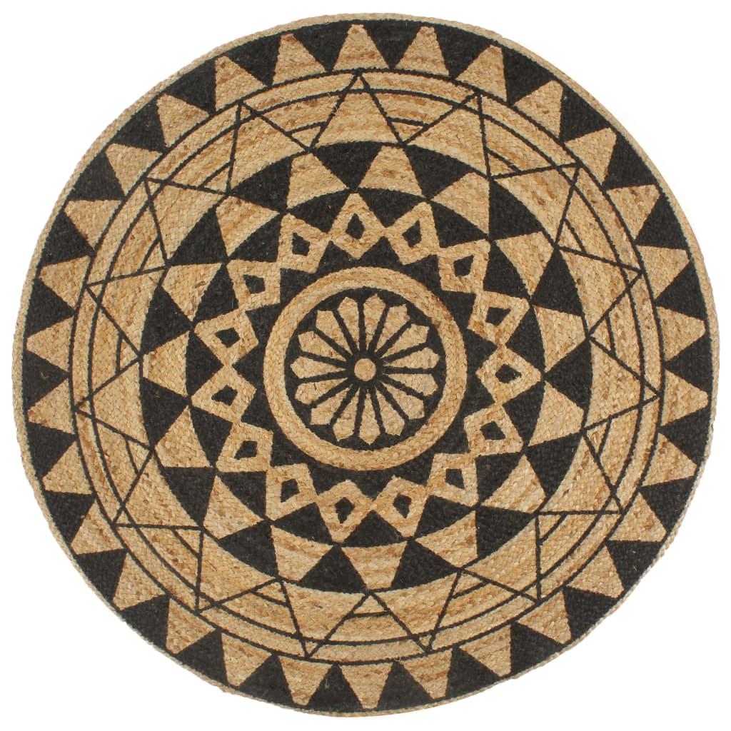 vidaXL Ručne vyrobený jutový koberec s čiernou potlačou 120 cm