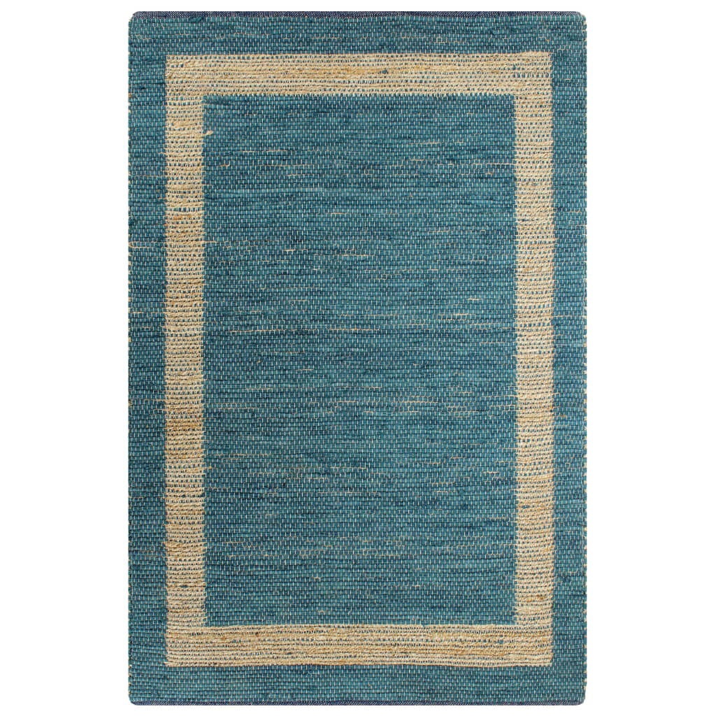 vidaXL Ručne vyrobený jutový koberec modrý 80x160 cm