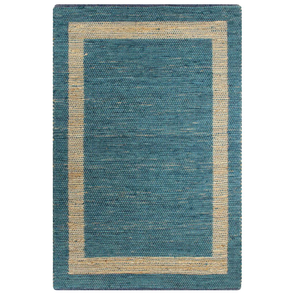 vidaXL Ručne vyrobený jutový koberec modrý 120x180 cm