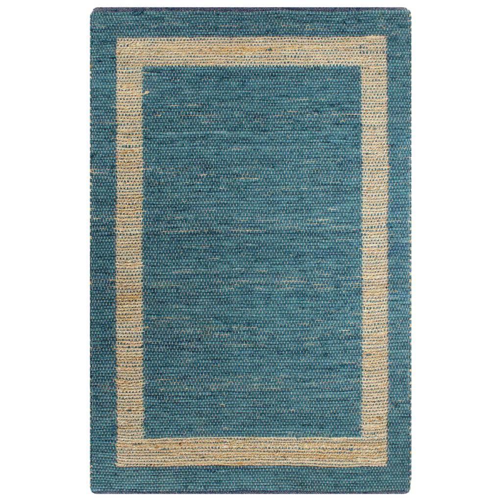 vidaXL Ručne vyrobený jutový koberec modrý 160x230 cm