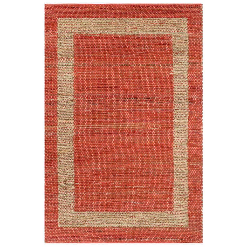vidaXL Ručne vyrobený jutový koberec červený 80x160 cm