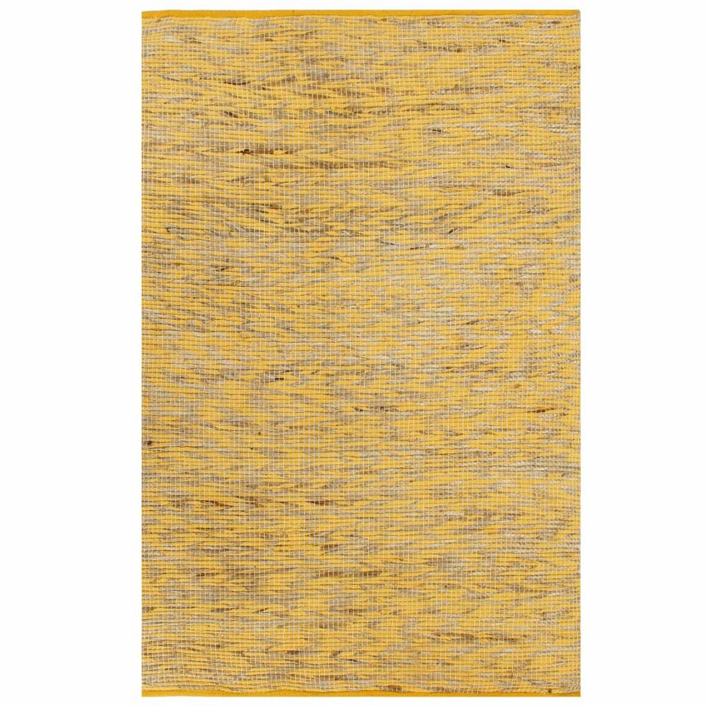 vidaXL Ručne vyrobený jutový koberec žltý a prírodný 80x160 cm