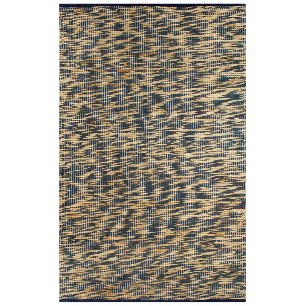 vidaXL Ručne vyrobený jutový koberec modrý a prírodný 160x230 cm