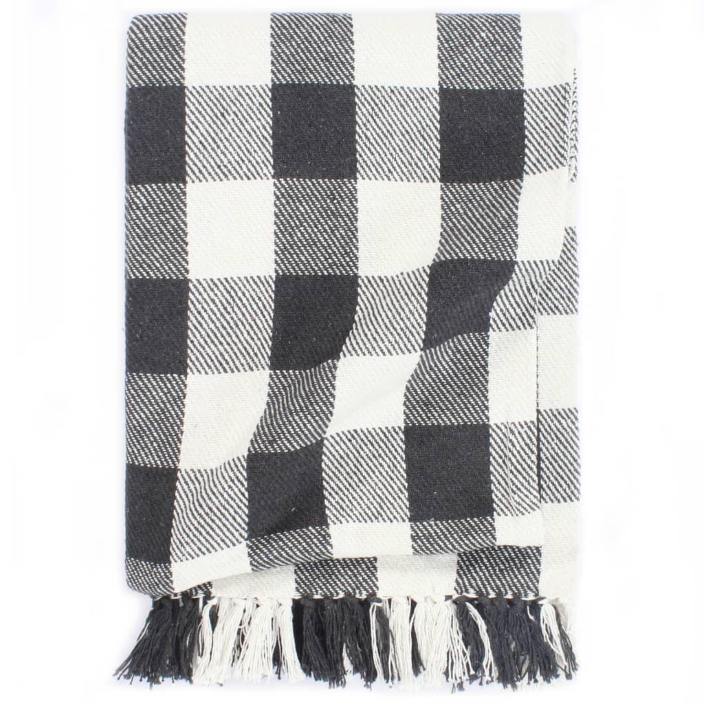 vidaXL Deka, bavlna, kockovaná 220x250 cm, antracitová