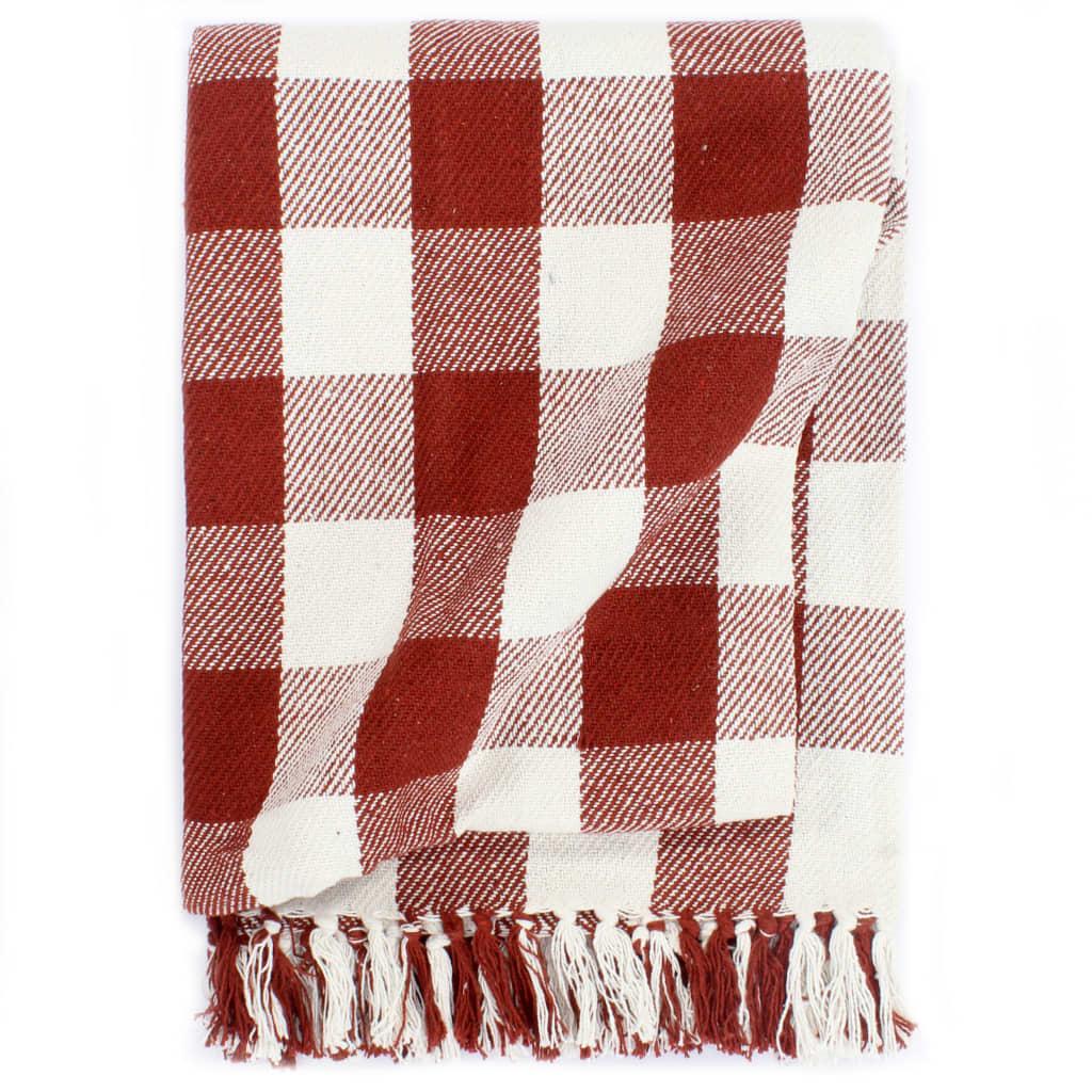vidaXL Deka, bavlna, kockovaná 220x250 cm, rubínovo červená