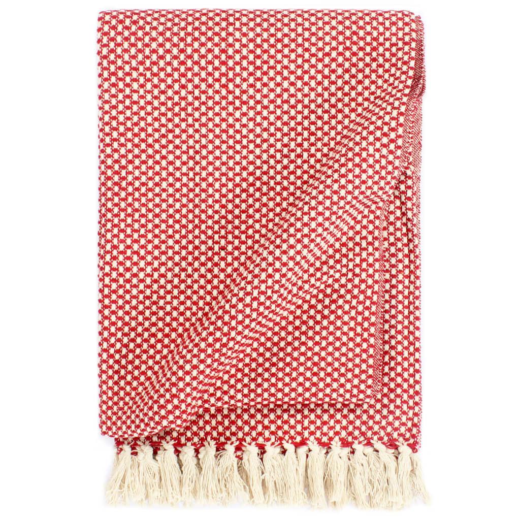 vidaXL Deka, bavlna 160x210 cm, červená