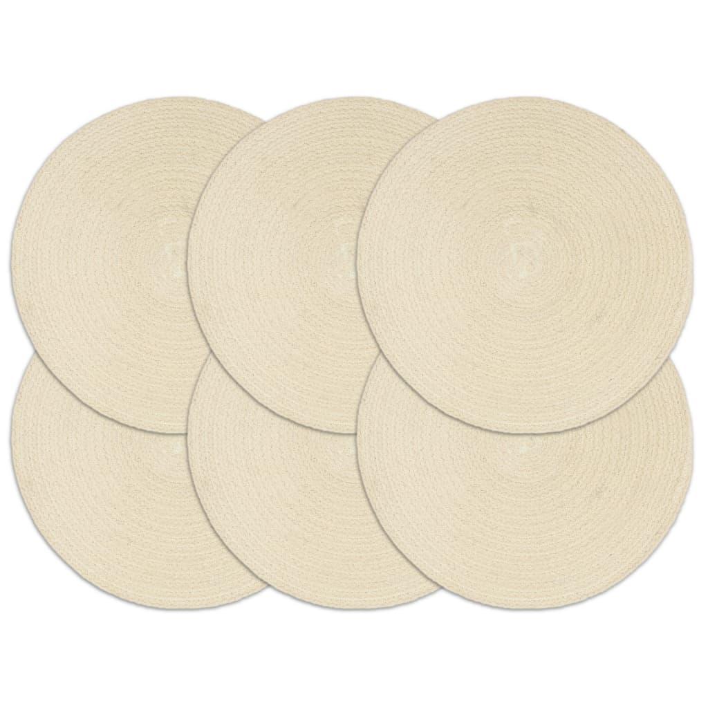 vidaXL Prestierania 6 ks prírodné 38 cm bavlnené okrúhle