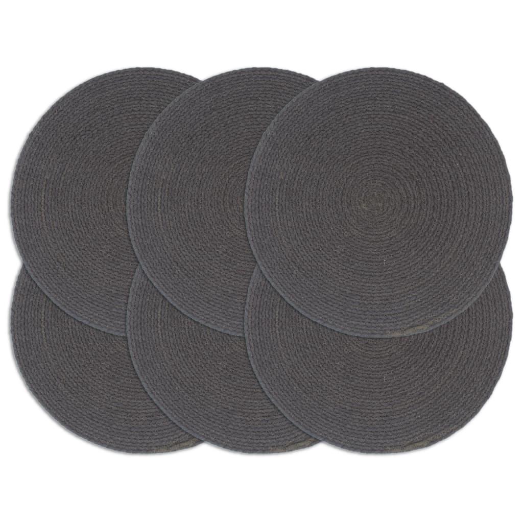 vidaXL Prestierania 6 ks tmavosivé 38 cm bavlnené okrúhle