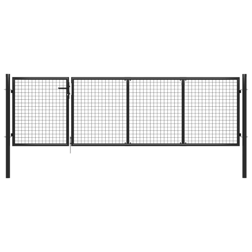 vidaXL Záhradná brána, oceľ 350x75 cm, antracitová