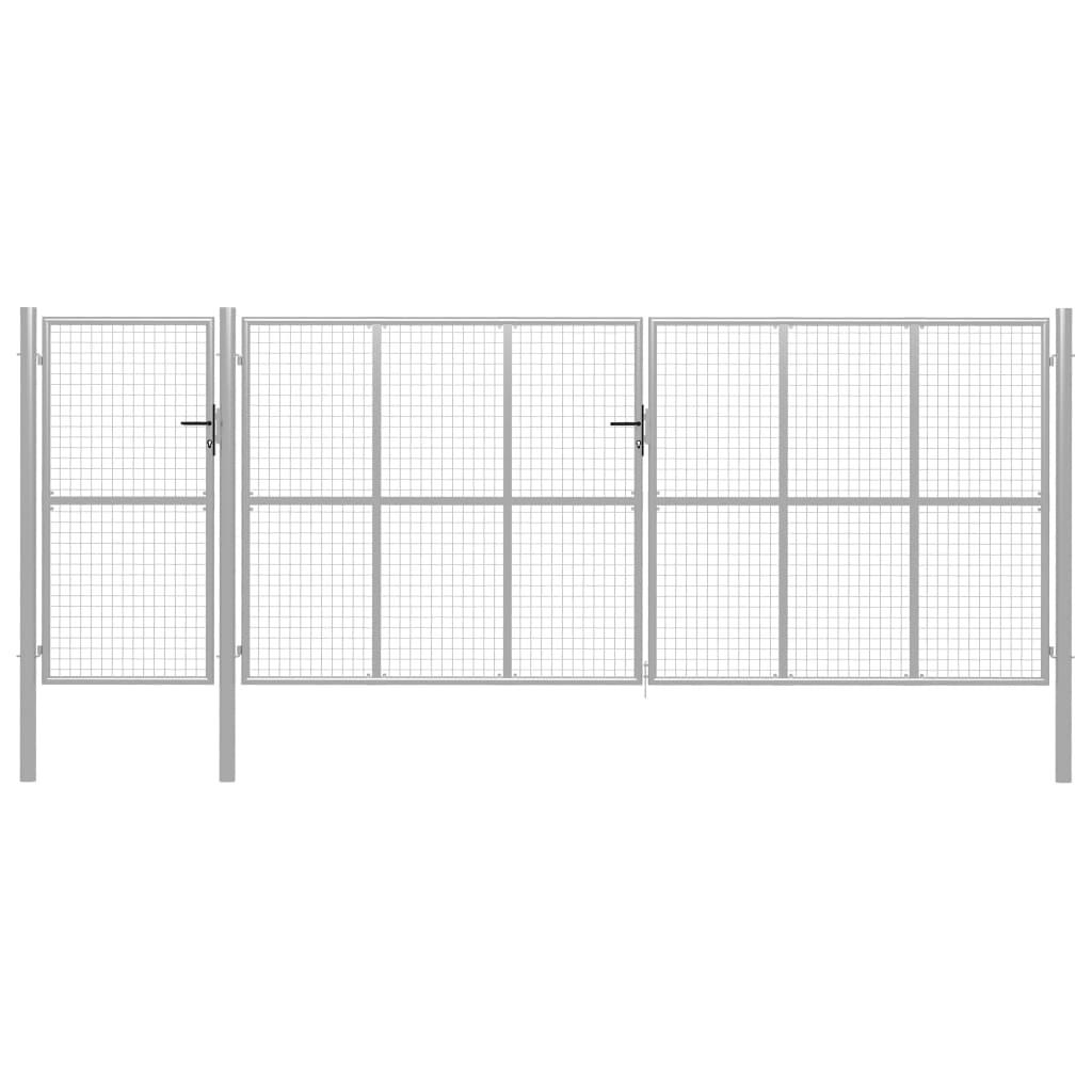 vidaXL Záhradná brána, oceľ 500x200 cm, strieborná