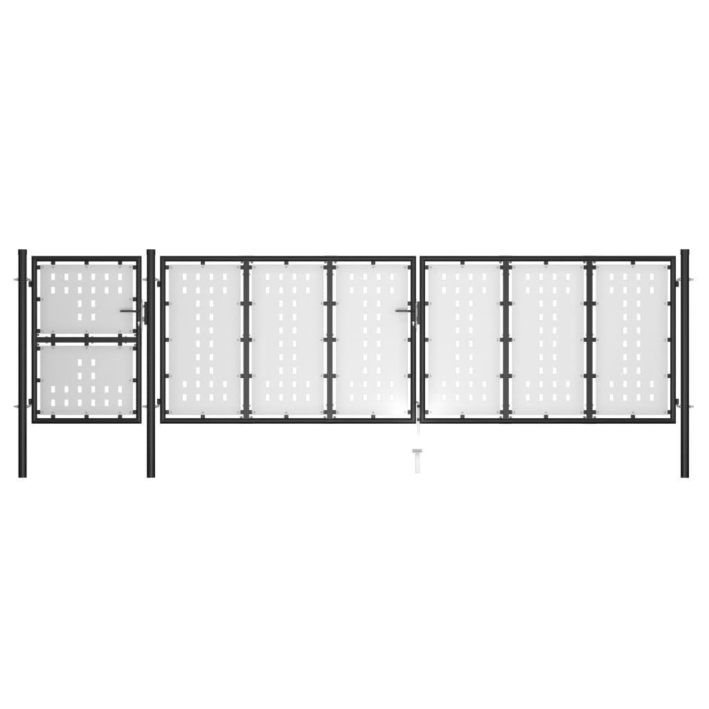 vidaXL Záhradná brána, oceľ 500x125 cm, čierna