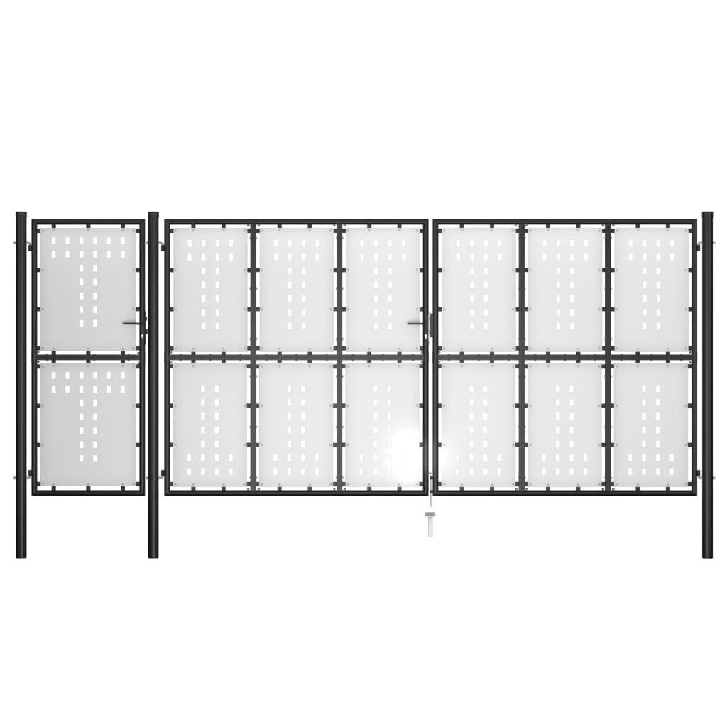 vidaXL Záhradná brána, oceľ 500x200 cm, čierna