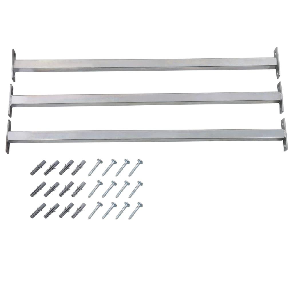 vidaXL Nastaviteľné bezpečnostné okenné lišty 3 ks 710 - 1200 mm