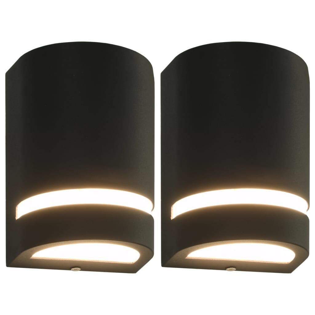 vidaXL Vonkajšie nástenné svietidlá 2 ks, 35 W, čierne, polkruhové