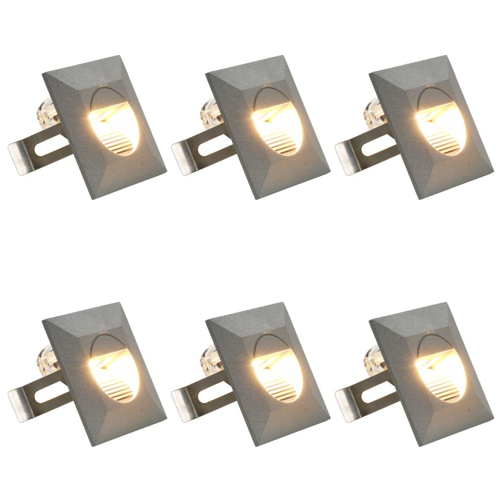 vidaXL Vonkajšie nástenné LED svetlá 6 ks, 5 W, strieborné, štvorcové