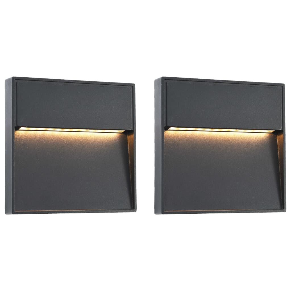 vidaXL Vonkajšie nástenné LED svietidlá 2 ks čierne 3 W štvorcové