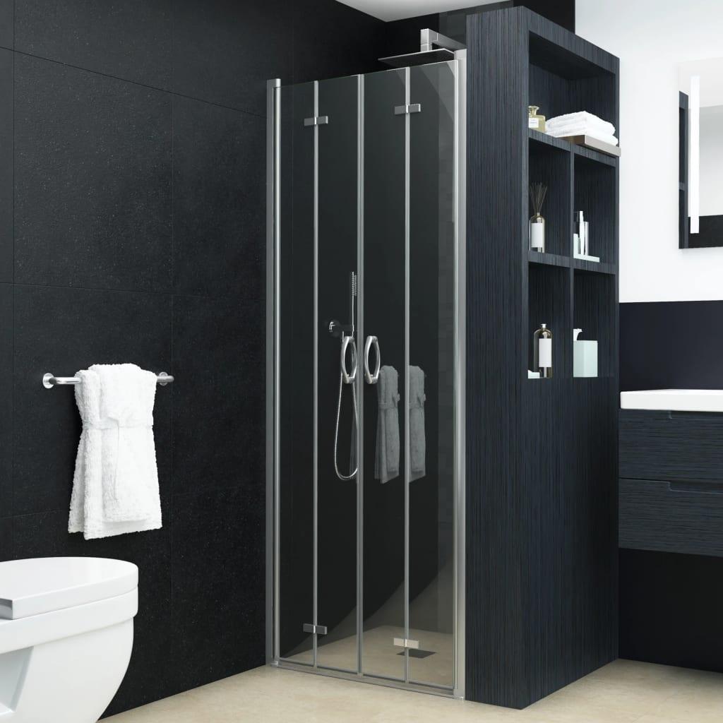 vidaXL Dvojkrídlové sprchové dvere priehľadné ESG 85x185 cm